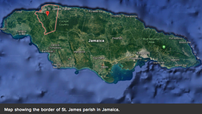 Map showing the border of St. James parish in Jamaica.