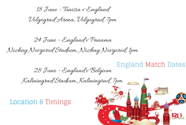 England Matches in Russia 2018